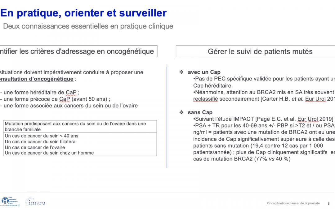 """Cours sur """"L'oncogénétique des cancers de prostate en pratique clinique"""" – Dr M. Durand, MD, PhD"""